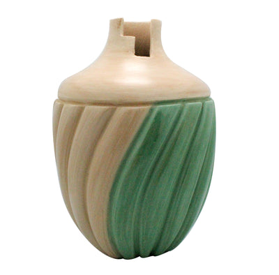 "Load image into Gallery viewer, Emma Yepa, Jemez Pueblo, Swirl Pottery, Contemporary, Jar, 7"" x 5.5"""