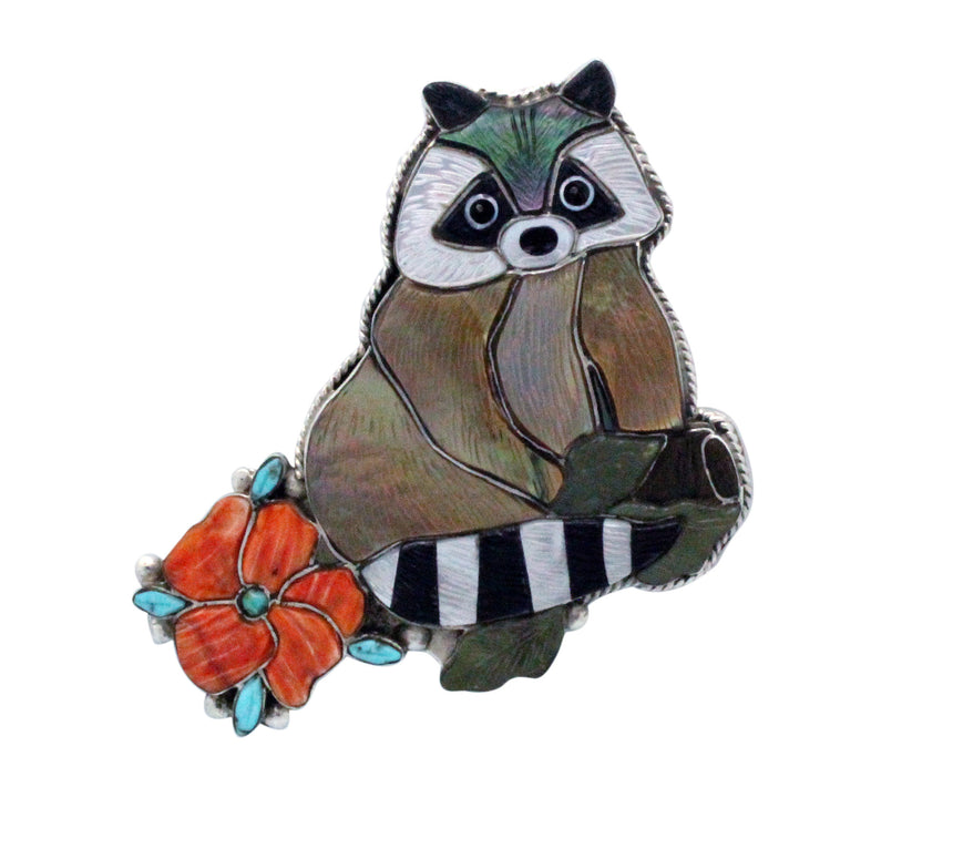 Shirley Benn, Pin, Pendant, Raccoon, Multi Stone Inlay, Tewa Handmade, 2.5