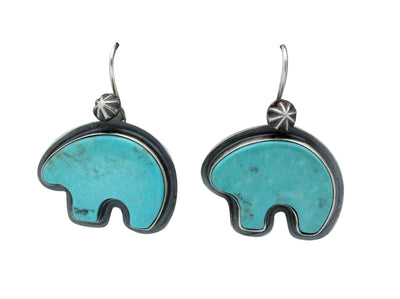 Load image into Gallery viewer, Andy Cadman, Earrings, French Hook, Bear, Turquoise, Navajo Handmade, 1.6