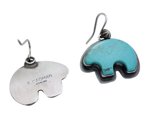 Andy Cadman, Earrings, French Hook, Bear, Turquoise, Navajo Handmade, 1.6