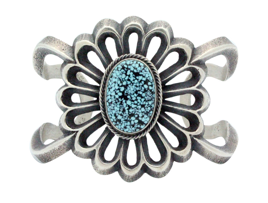 Aaron Anderson, Bracelet, Spider Web Turquoise, Traditional, Navajo Made 6.5