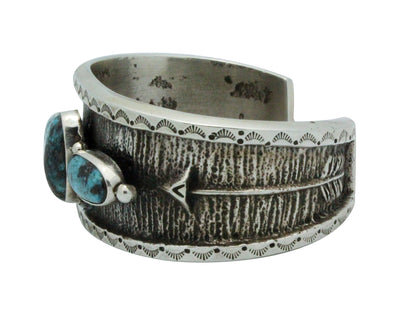 Load image into Gallery viewer, Aaron Anderson, Bracelet, Persian Turquoise, Silver, Navajo Handmade, 7