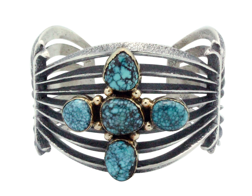 Aaron Anderson, Bracelet, Apache Blue Turquoise, 14k, Silver, Navajo Made, 6.25