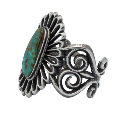 Load image into Gallery viewer, Aaron Anderson, Tufa Cast Bracelet, Pilot Mountain Turquoise, Navajo Made, 6.5