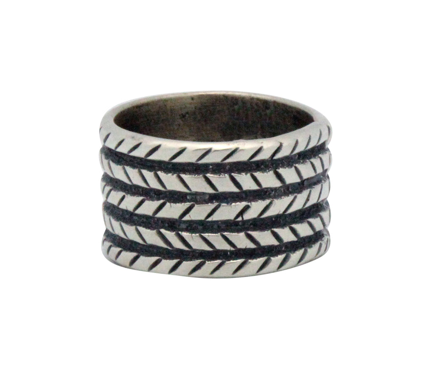 Aaron Anderson, Ring, Wide Band, Tufa, Sterling Silver, Navajo Handmade, 12