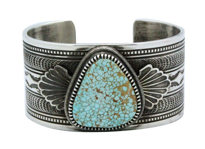 Load image into Gallery viewer, Floyd Parkhurst, Bracelet, Number Eight Turquoise, Stamping, Navajo Handmade, 6.5