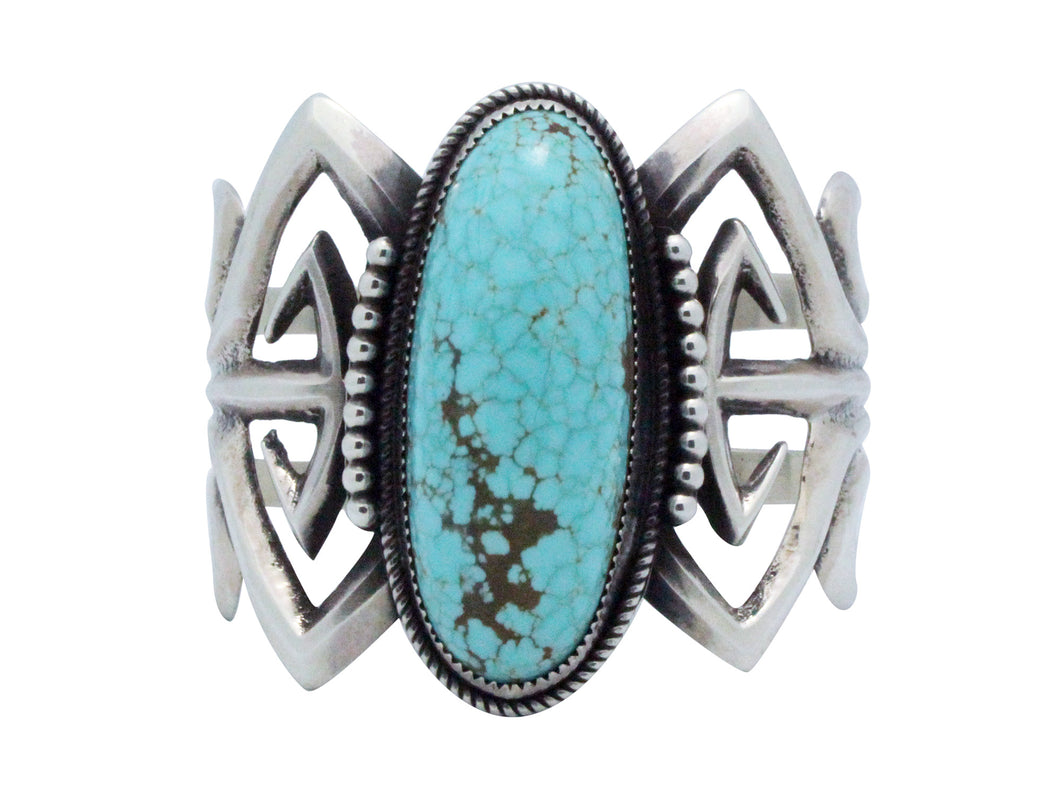 Carole, Wilson Begay, Bracelet, Silver, Number Eight Turquoise, Navajo Made, 6.5