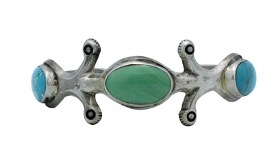 Load image into Gallery viewer, Ray Betsoi, Sandcast Bracelet, Kingman Turquoise, Sterling Silver, Navajo, 6.5