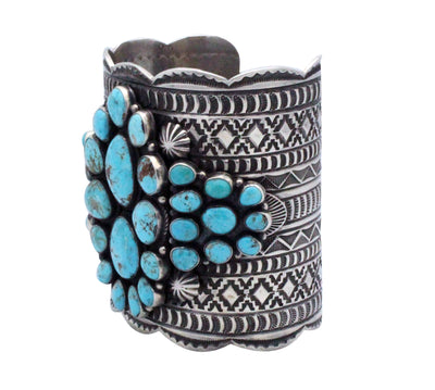 Load image into Gallery viewer, Andy Cadman, Bracelet, Huge, Blue Ridge Turquoise, Silver, Navajo Handmade, 8.25
