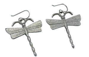 Monty Claw, Earring, Dragonfly, Tufa Cast, Sterling Silver, Navajo Handmade, 2.5