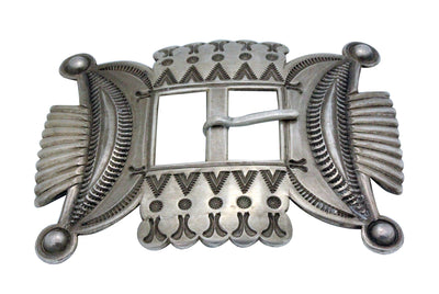 Load image into Gallery viewer, Edison Sandy Smith, Buckle, Revival, Stamping, Silver, Navajo Handmade