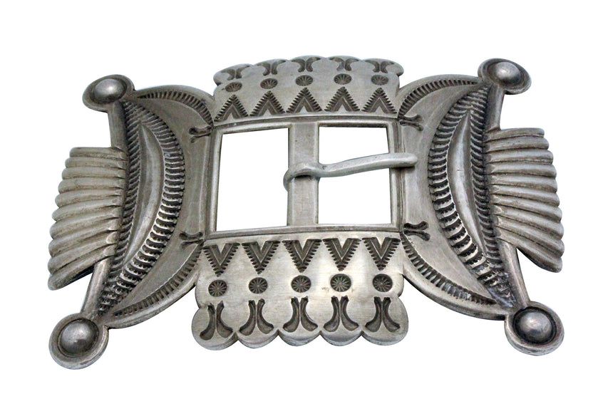 Edison Sandy Smith, Buckle, Revival, Stamping, Silver, Navajo Handmade
