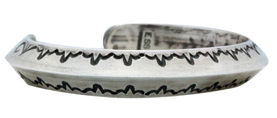 Load image into Gallery viewer, Edison Sandy Smith, Bracelet, Narrow, Silver, Stamping, Navajo Handmade, 6 1/4""