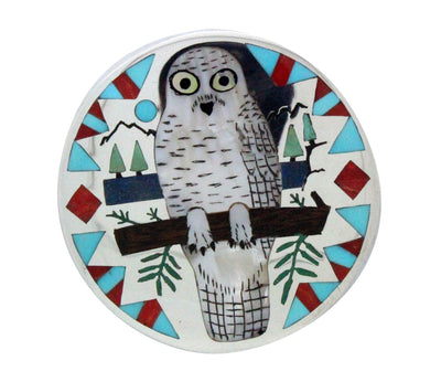 Load image into Gallery viewer, Nancy, Ruddell Laconsello, Pin, Pendant, Snowy Owl, Silver, Zuni Handmade, 2