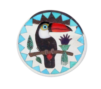 Load image into Gallery viewer, Nancy, Ruddell Laconsello, Pin, Pendant, Toucan, Silver, Zuni Handmade, 1.5