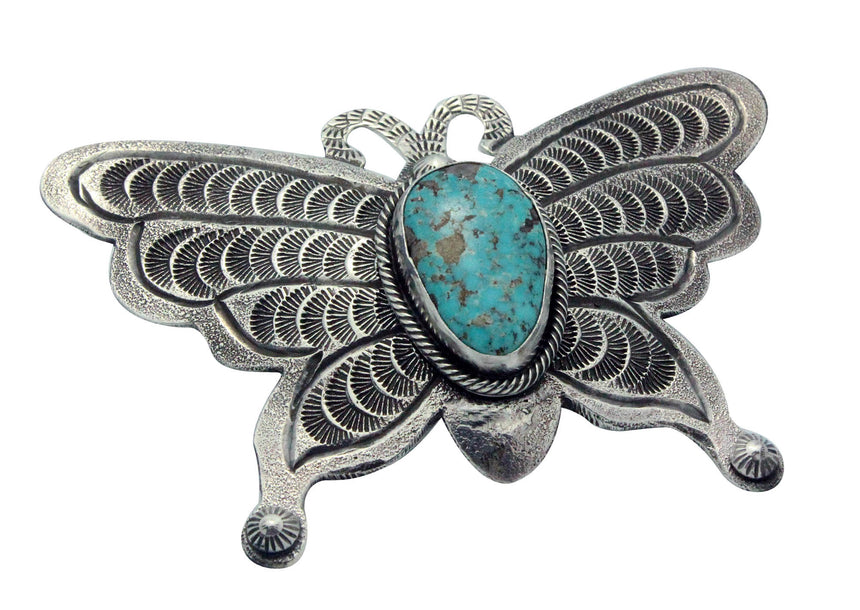 Hemerson Brown, Ring, Blue Ridge Turquoise, Butterfly, Navajo Handmade, 5