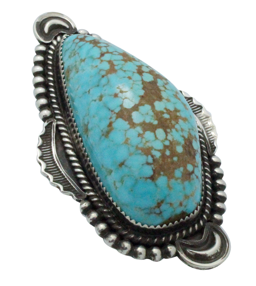 Harold Joe, Ring, Number Eight Turquoise, Sterling Silver, Navajo Handmade, 9