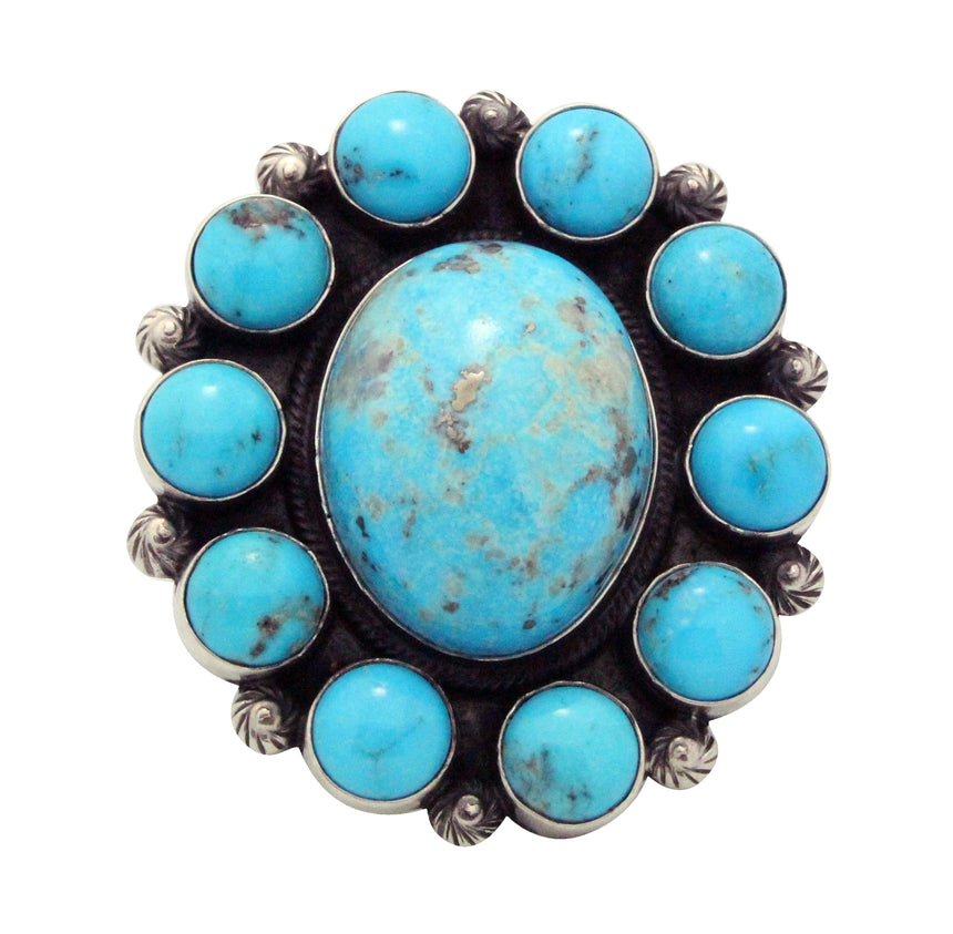 Freddie Maloney, Ring, Persian Turquoise, Sterling Silver, Navajo Handmade, 9