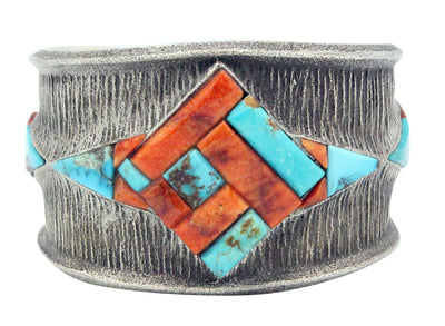 Load image into Gallery viewer, Philander Begay, Bracelet, Tufa, Spiny Oyster, Turquoise, Navajo Handmade, 7