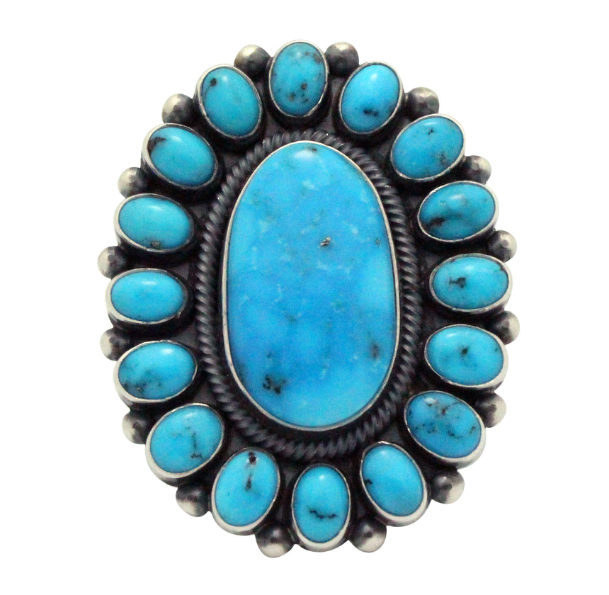 Ernest Roy Begay, Ring, Kingman Turquoise, Cluster, Silver, Navajo Handmade, 8