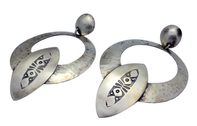 Load image into Gallery viewer, Julian Chavez, Earring, Contemporary, Sterling Silver, Navajo Handmade, 3.5