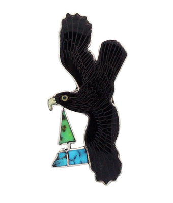 Load image into Gallery viewer, Harlan Coonsis, Pen, Pendant, Golden Eagle, Shell, Turquoise, Zuni Handmade, 3
