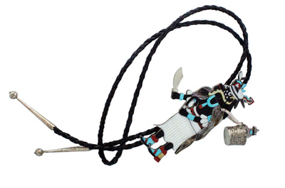 Load image into Gallery viewer, Philbert Beyuka, Bolo, Hopi Black Ogre Kachina, Inlay, Zuni Handmade, 5.25