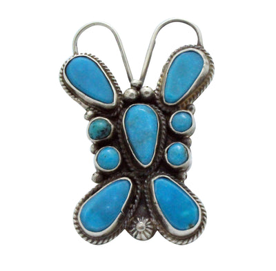 Load image into Gallery viewer, Tyler Brown, Ring, Kingman Turquoise, Butterfly, Silver, Navajo Made, 7.5