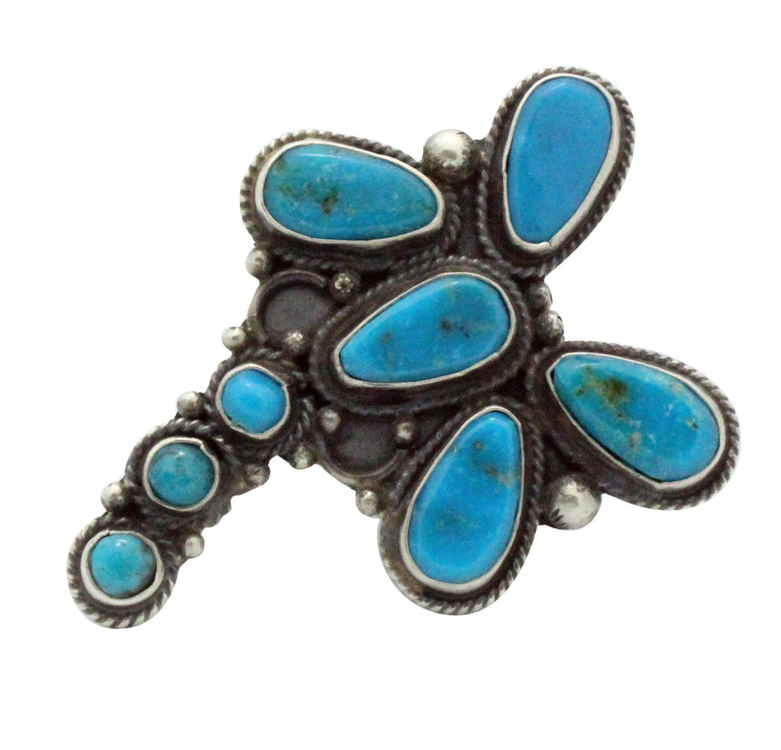 Tyler Brown, Ring, Dragonfly, Kingman Turquoise, Silver, Navajo Made, 7