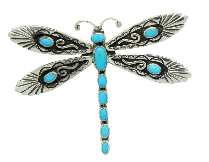 Lee Charley, Pin, Pendant, Dragonfly, Turquoise, Silver, Navajo Made, 2.25