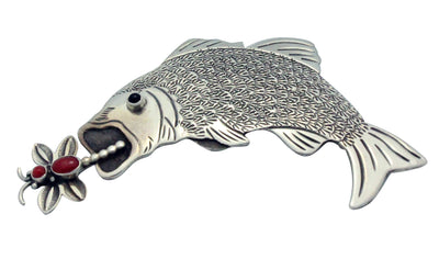 Load image into Gallery viewer, Lee Charley, Pin, Bass Fish, Mediterranean Coral, Silver, Navajo Handmade, 1.5