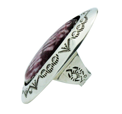 Load image into Gallery viewer, Teddy Goodluck, Ring, Purple Spiny Oyster Shell, Shadowbox, Navajo Handmade, 6.5