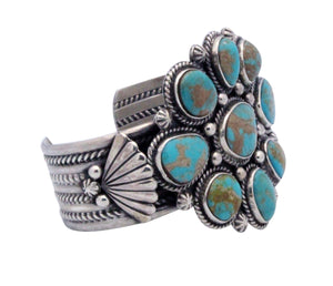 Navajo Handmade Royal Blue Royston Turquoise Cluster Bracelet, Silver, RT