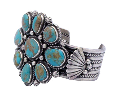 Load image into Gallery viewer, Navajo Handmade Royal Blue Royston Turquoise Cluster Bracelet, Silver, RT