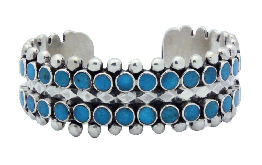 Vincent Shirley, Bracelet, Two Row, Sleeping Beauty Turquoise, Navajo Made, 6 7/16