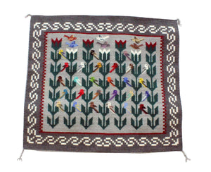 "Marilyn Begay, Navajo, Pictoral, Rug, Handwoven, 39"" x 42"""