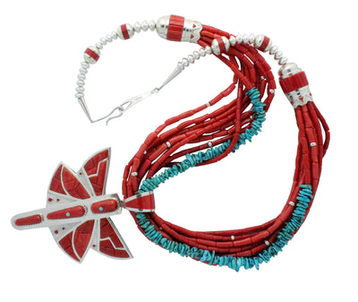 Load image into Gallery viewer, Mike Perry, Necklace, Mediterranean Coral, Turquoise, Dragonfly, Navajo, 31""