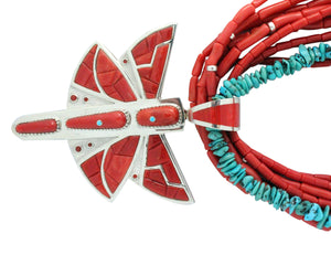 Mike Perry, Necklace, Mediterranean Coral, Turquoise, Dragonfly, Navajo, 31""