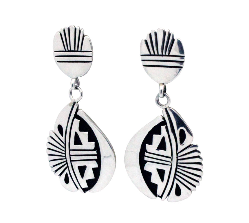Kary Begay, Dangle Earrings, Post, Silver, Fan Design, Navajo Handmade, 2.5