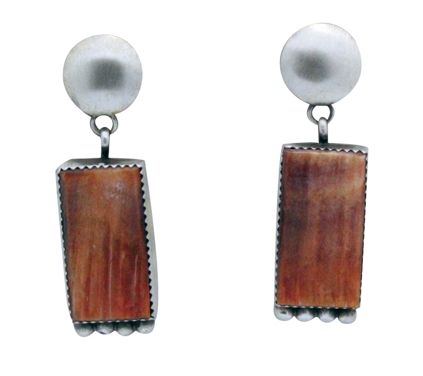 Selena Warner, Earrings, Post, Dangle, Orange Spiny Oyster, Navajo Made, 2