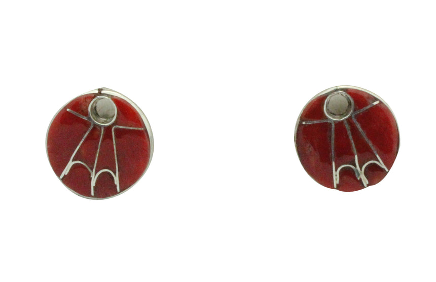 Kimberly Kaamasee, Earrings, Post, Inlay, Mediterranean Coral, Zuni Handmade, .6