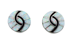 Amy Quandelacy, Earrings, Pierced, Synthetic Opal, Silver, Zuni Handmade, .75