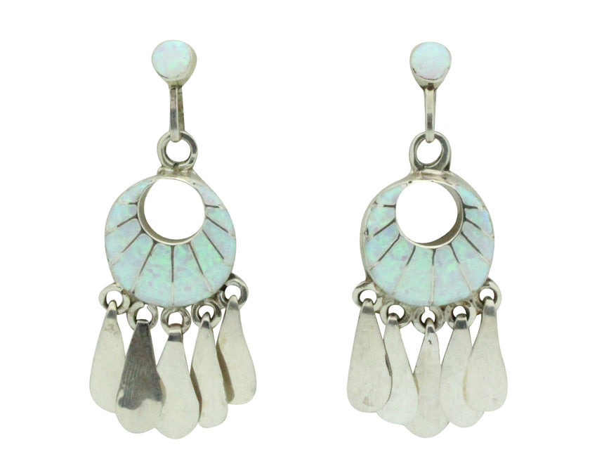 Zuni Handmade Earrings, Pierced, Dangles, Synthetic Opal, Sterling Silver,??2