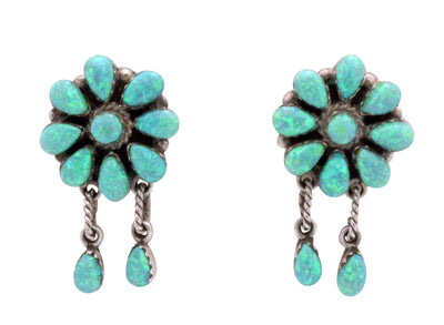 Load image into Gallery viewer, Zuni Handmade Earrings, Clusters, Dangles, Sythetic Green Opal, Signed A, 1.5