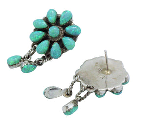 Zuni Handmade Earrings, Clusters, Dangles, Sythetic Green Opal, Signed A, 1.5