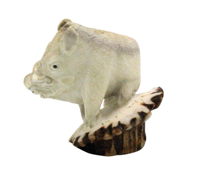 Load image into Gallery viewer, Maxx Laate, Warthog, Deer Antler, Jet, Zuni Hand Carved, 2.5""