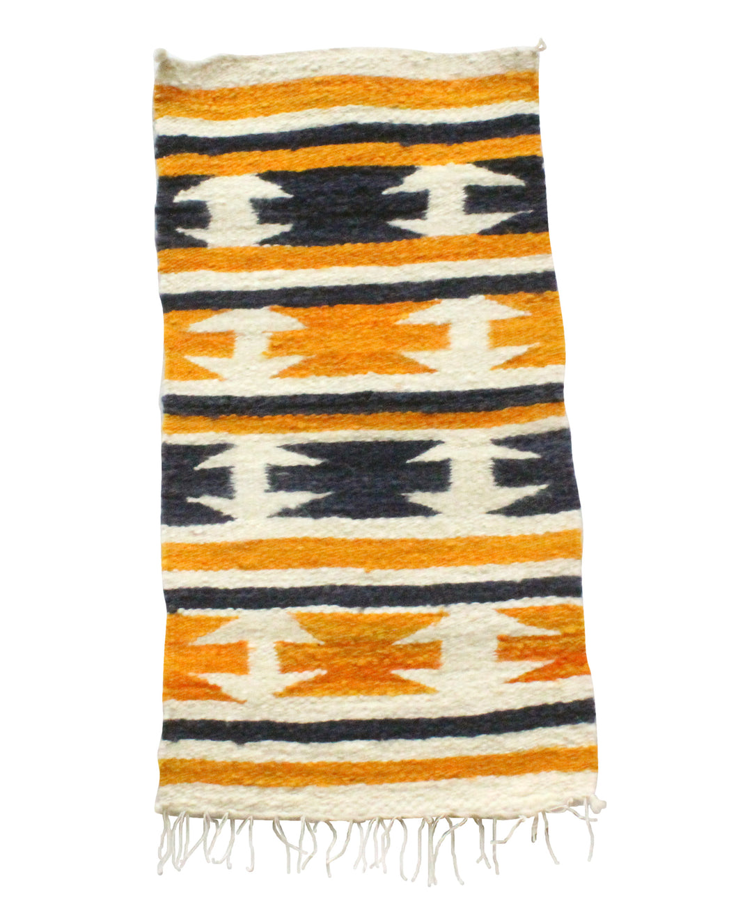 Gallup Throw Rug, Navajo Wool Cotton, Handwoven, 18 x 34.5 in
