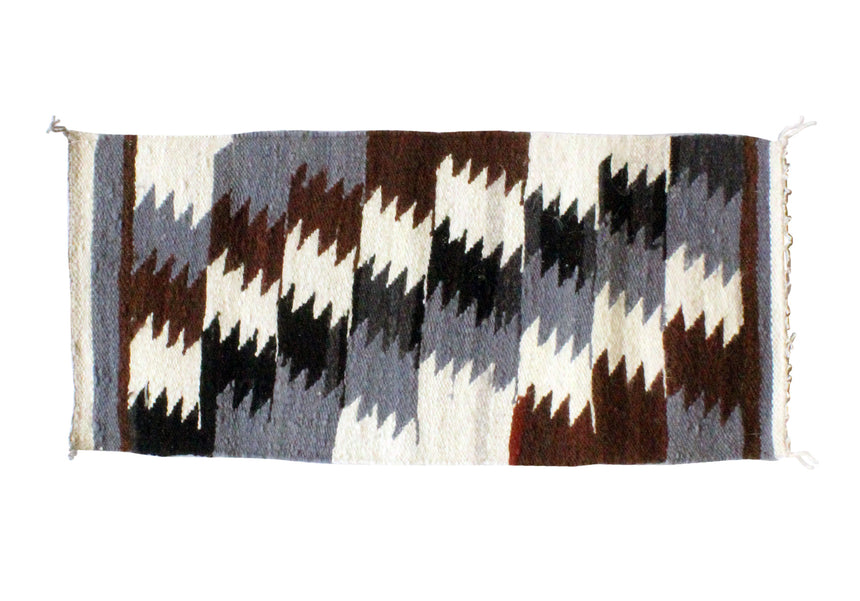Gallup Throw Rug, Navajo Wool Cotton, Handwoven, 17.25 x 37.5 in