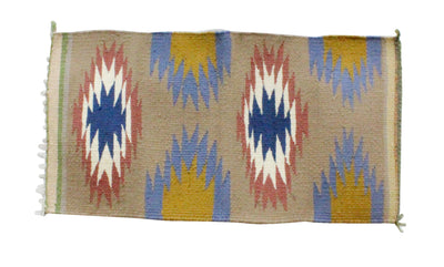 Load image into Gallery viewer, Gallup Throw Rug, Navajo Wool Cotton, Handwoven, 18.5 x 34 in