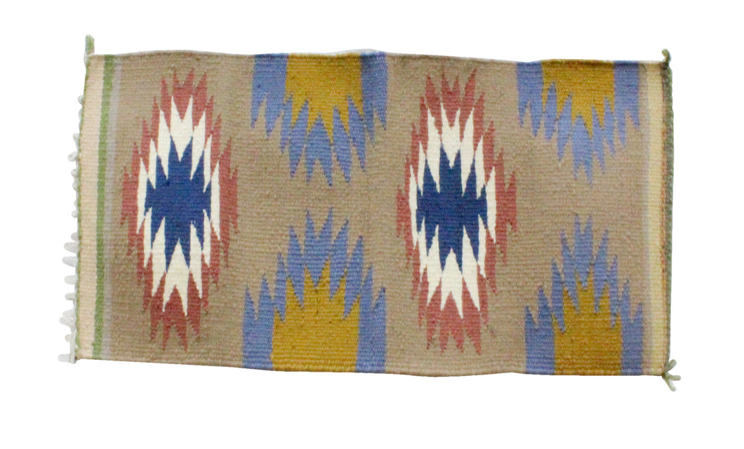 Gallup Throw Rug, Navajo Wool Cotton, Handwoven, 18.5 x 34 in
